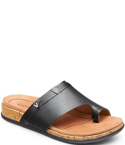 Vionic Cindy Leather Toe Loop Sandals
