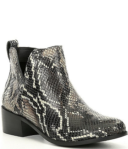 Vionic Clara Ankle Snake Print Water Resistant Leather Booties