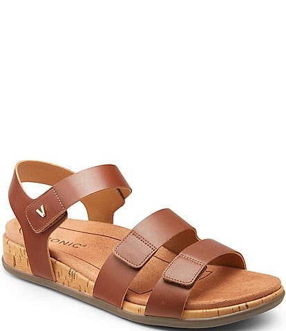 Vionic Colleen 3 Strap Leather Wedge Sandals