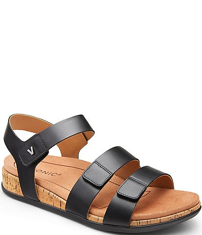 Vionic Colleen 3 Strap Leather Sandals