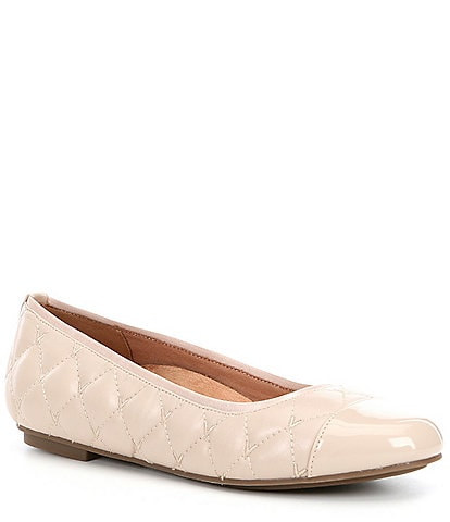 Vionic Desiree Quilted Leather Cap Toe Bow Ballet Flats