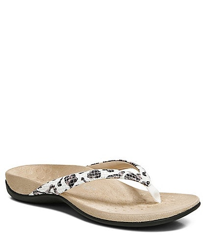 Vionic Dillion Leopard Snake Toe Post Sandals