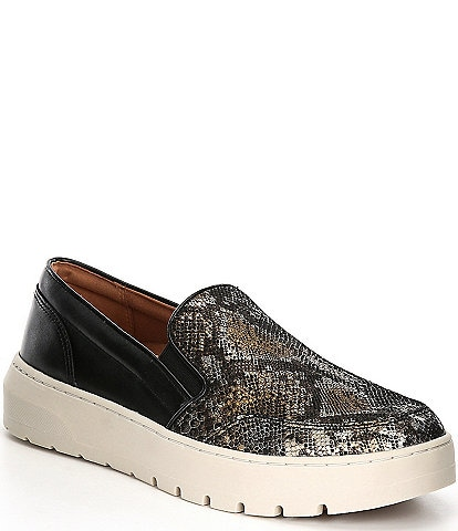 Vionic Dino Snake Print Leather Slip-On Sneakers