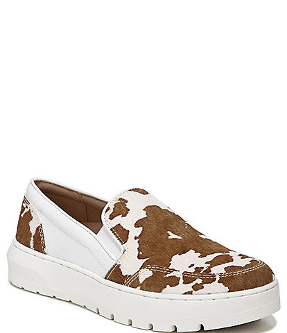 Vionic Dinora Cow Print Calf Hair And Leather Slip-On Sneakers