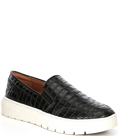 Vionic Dinoracroc Croc Embossed Leather Slip-On Sneakers