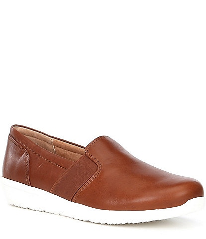 Vionic Gianna Leather Gored Side Wedge Slip Ons