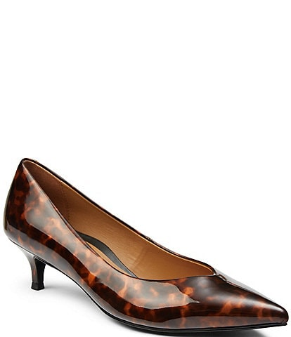 Vionic Josie Tortoise Leather Kitten Heel Pumps
