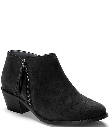 6c23acb0f7d Vionic Serena Water Resistant Suede Zipper with Tassel Pull Block Heel  Ankle Boots