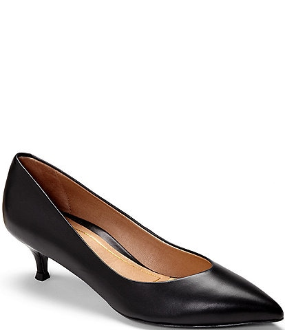 Vionic Josie Leather Kitten Heel Pumps