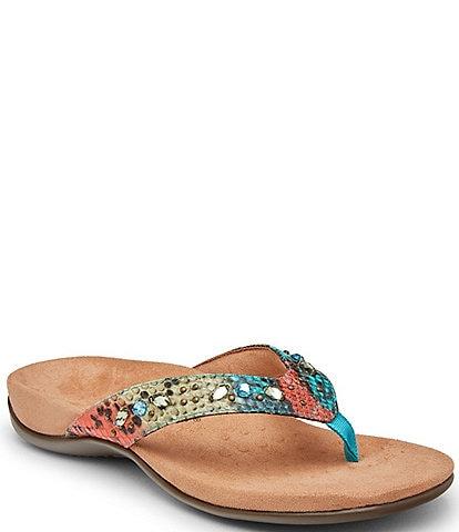 Vionic Lucia Snake Print Rhinestone Embellished Thong Sandals