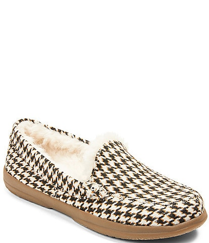 Vionic Lynez Houndstooth Faux Shearling Slippers