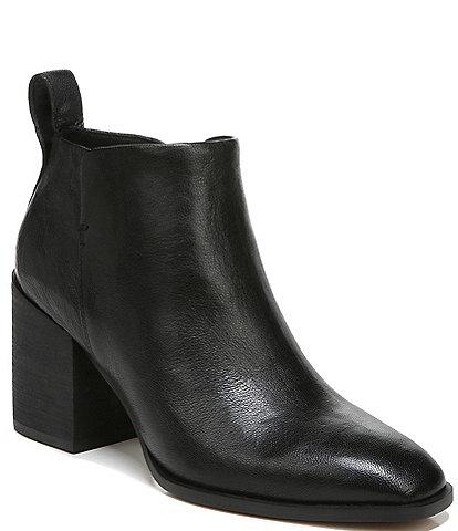 Vionic Lyssa Distressed Leather Square Toe Block Heel Booties