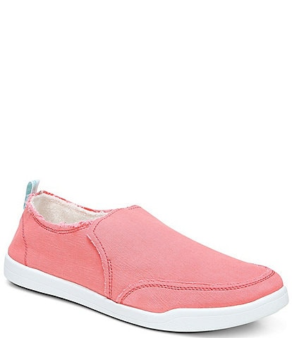 Vionic Malibu Canvas Frayed Washable Slip-On Sneakers