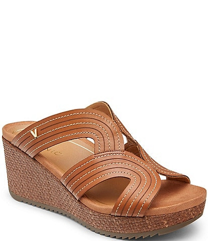 Vionic Malorie Leather Wedge Slide Sandals