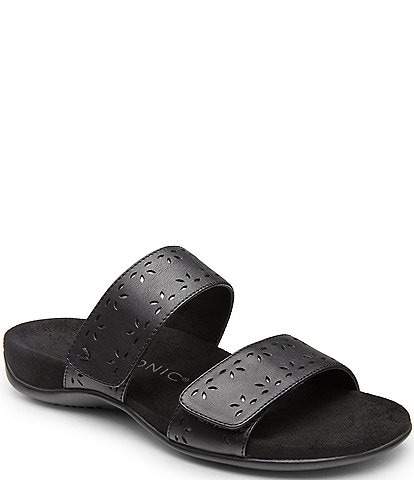 Vionic Randi Perforated Leather Slide Sandals