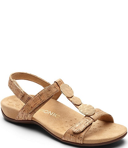 Vionic Rest Farra Cork Metallic Ornament T-Strap Sandals