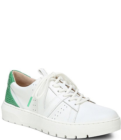 Vionic Simasa Leather Lizard Print Accent Lace-Up Platform Sneakers