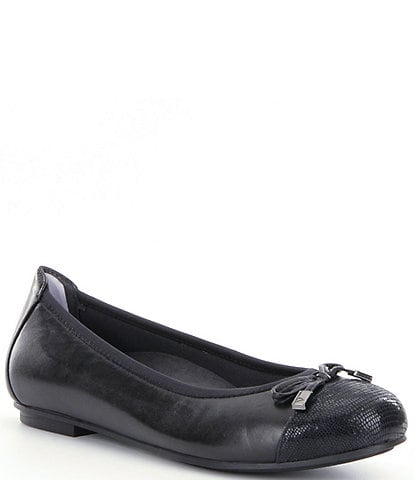 Vionic Minna Snake Leather Cap-Toe Leather Flats