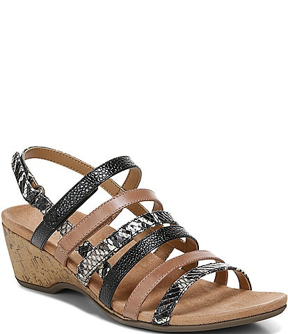 Vionic Tess Snake Print Leather Cork Wedge Sandals