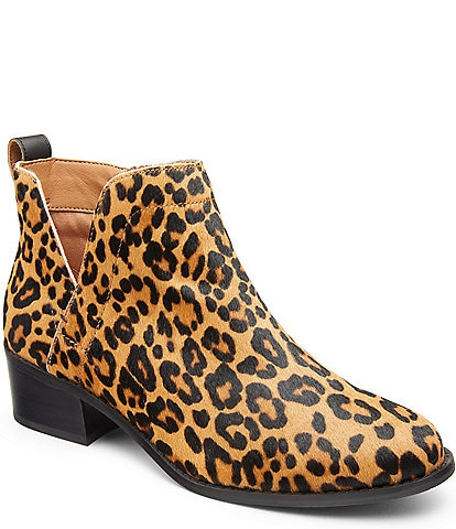 Vionic WALK.MOVE.LIVE Clara Leopard Print Hair Calf Booties