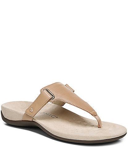 Vionic Wanda Leather T-Strap Sandals