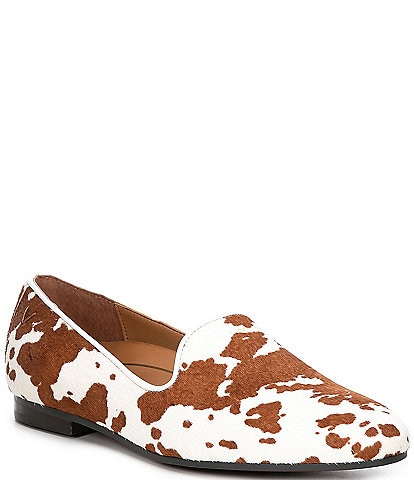 Vionic Willa Slip-On Cow Print Calf Hair Loafers