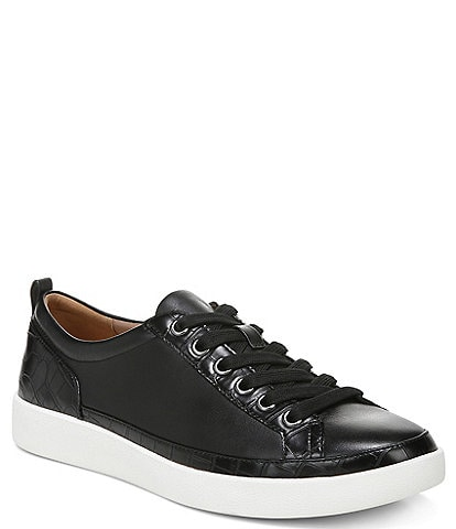 Vionic Winny Leather Embossed Detail Lace-Up Sneakers