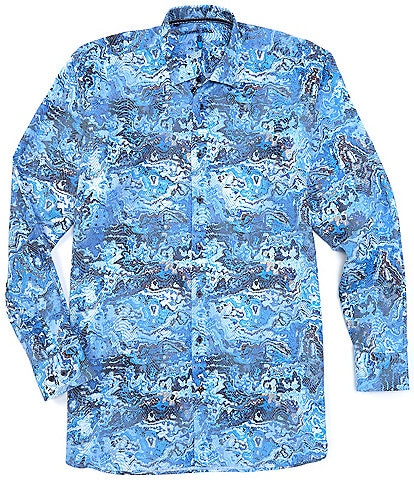 Visconti Big & Tall Blue Print Long-Sleeve Woven Shirt