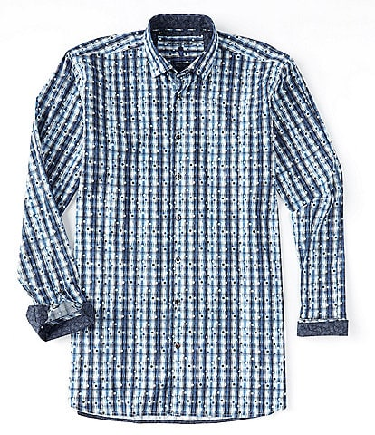 Visconti Big & Tall Dot Stripe Textured Long-Sleeve Woven Shirt