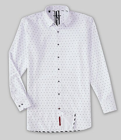 Visconti Big & Tall Mini Print Oxford Long-Sleeve Woven Shirt
