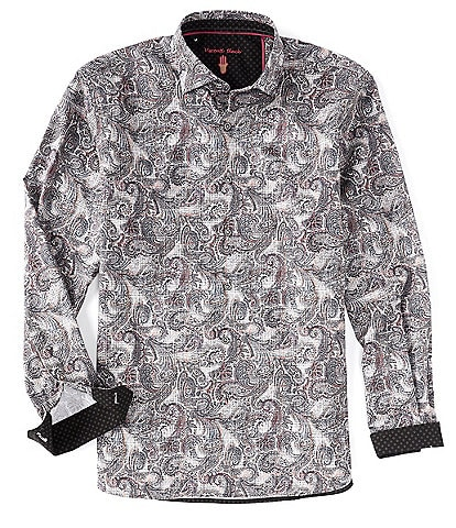 Visconti Big & Tall Paisley Print Long-Sleeve Woven Shirt