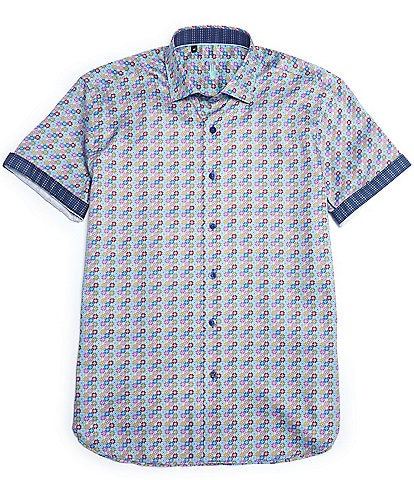 Visconti Geo Floral Print Short-Sleeve Woven Shirt