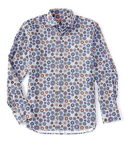 Visconti Geo Print Long-Sleeve Woven Shirt