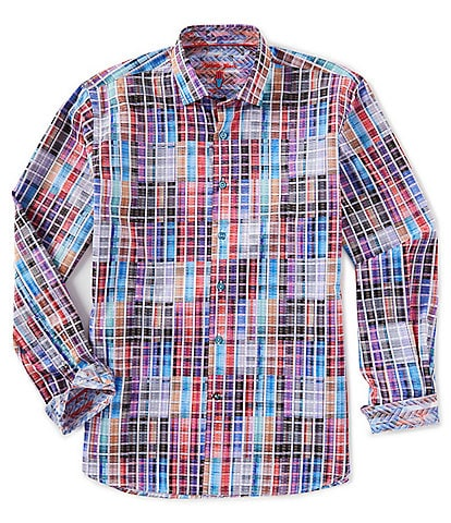 Visconti Multi-Color Check Long-Sleeve Woven Shirt