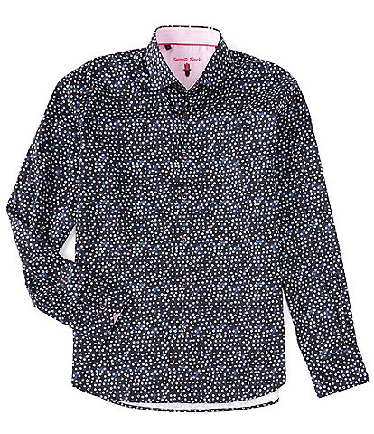 Visconti Multi-Color Polka Dot Long-Sleeve Woven Shirt