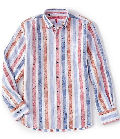 Visconti Multi-Color Vertical Stripe Long-Sleeve Woven Shirt