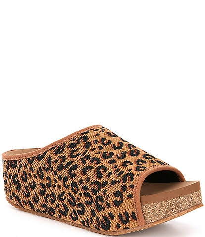 Volatile Elias Leopard Print Stretch Knit Footbed Sandals