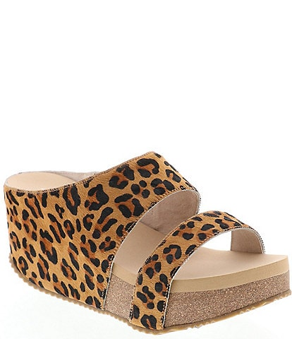 Volatile Remini Leopard Haircalf Wedge Slide Sandals
