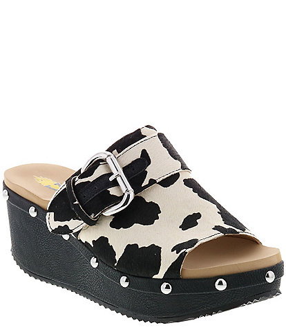 Volatile Roanoke Cow Print Haircalf Buckle Wedges