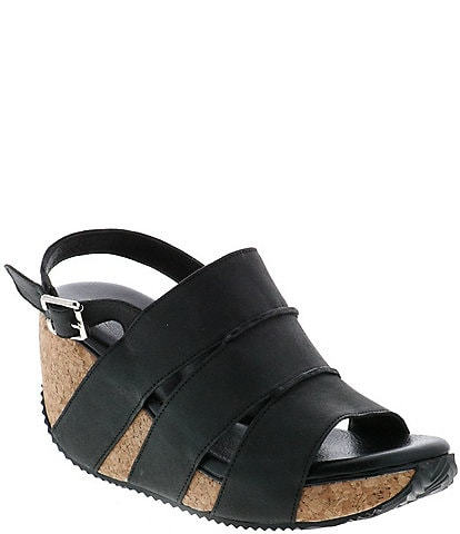 Volatile Robeline Cut Out Sling Leather Cork Wedges