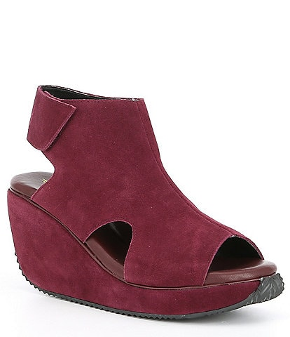 Volatile Welch Suede Ankle Strap Platform Wedges
