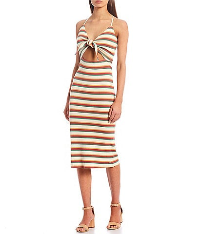 Volcom Dance Strides Stripe Tie Front Midi Dress