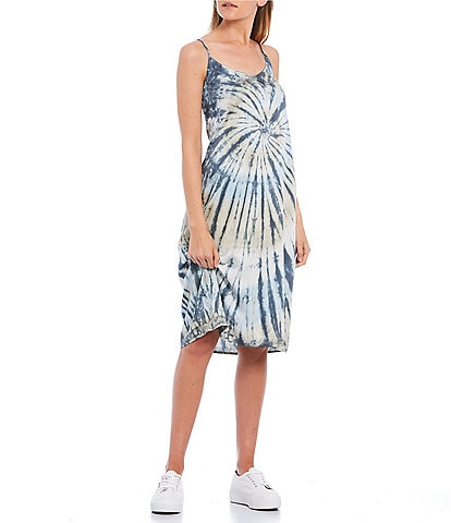 Volcom Dyed Dreams Tie-Dye Slip Midi Dress