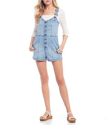 Volcom Eco True Repreve Liberator 2 Button Front Denim Shortalls