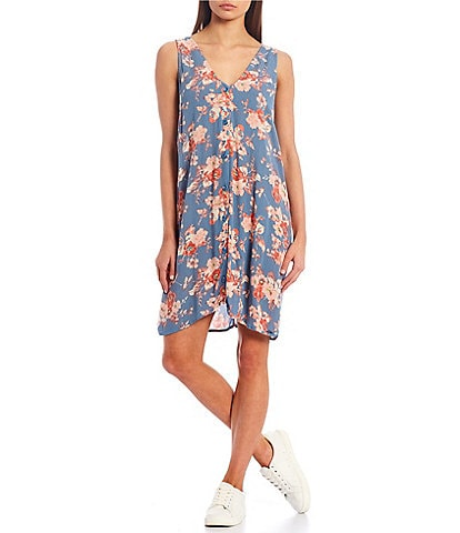 Volcom Forget Yourself Floral Button Front Dress
