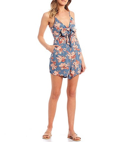 Volcom Forget Yourself Floral Tie Front Romper