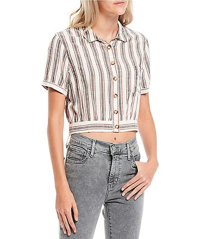 Volcom Have Another Stripe Short Sleeve Button Front Top