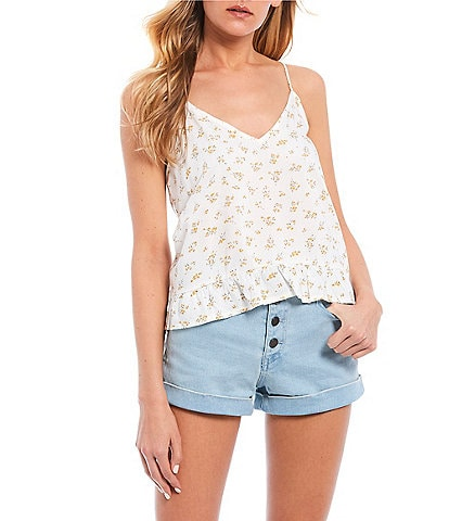 Volcom Read The Room Floral Ruffle Hem Cami Top