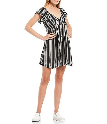 Volcom Sunrise Show Stripe Button Front Dress