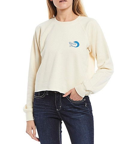 Volcom Truly Stocked Crew Long-Sleeve Fleece Knit Crop Sweatshirt